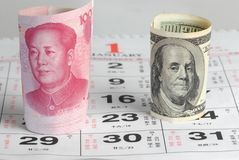 De munt van China de V.S. royalty-vrije stock foto's