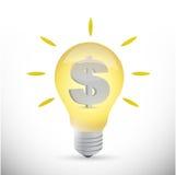 De munt van de bedrijfs gloeilampendollar idee royalty-vrije illustratie
