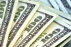 De Munt van de V.S. de Rekeningen van Honderd Dollars. Royalty-vrije Stock Foto