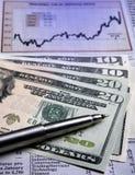 De munt van de V.S. - financiële grafiek Royalty-vrije Stock Foto