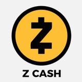De munt vectorembleem van Zcashzec cripto Stock Fotografie