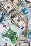 De muntachtergrond van het document Stock Foto