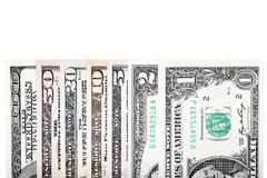 De muntdollar plakt elk, 100, 50, 20, 10, 5, 2 en Stock Foto's