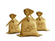 De munten van de Zak van het geld Stock Foto's