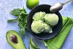 De muntroomijs van de avocadokalk Hoogste mening royalty-vrije stock afbeeldingen