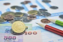 De muntstukken, de bankbiljetten en de potloden van Thailand op bedrijfsgrafiek, rekening Royalty-vrije Stock Foto's