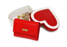 De muntstukken en de doos van de portefeuille Stock Afbeelding
