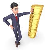 De muntstukken financieren 3d Teruggeven Middelen het Bedrijfs van Person And Currency Royalty-vrije Stock Afbeelding