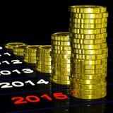 De muntstukken op 2015 toont Monetaire Verwachtingen Stock Foto's