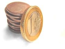 De muntstukken van de euro en van de cent Stock Fotografie