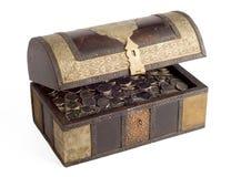 De muntstukken van Dirham van de V.A.E in een trunk_side Stock Foto