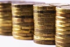 De muntstukken van het geld stock foto