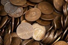 De muntstukken van het messing Stock Fotografie