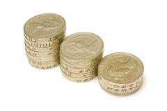 De muntstukken van het pond Stock Foto