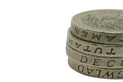 De muntstukken van het pond stock fotografie