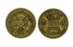 De muntstukken van Marocofranken stock foto