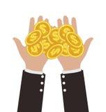 De Muntstukken van zakenmanhands giving gold royalty-vrije illustratie