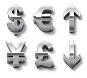 De muntsymbolen en pijlen van het metaal Stock Afbeelding