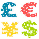 De muntsymbolen van Grunge Stock Afbeelding