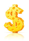 De muntteken van de dollar dat van gele poreuze kaas wordt gemaakt Stock Afbeelding
