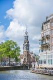 De Munttoren-toren in Amsterdam, Nederland Royalty-vrije Stock Foto's