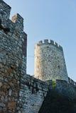 De muren en de torens van de Kalemegdanvesting van onderaan bij zonnige ochtend in Belgrado Stock Afbeelding