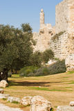 De muren van de stad van Jeruzalem Stock Afbeeldingen