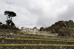 De Muren van Machupicchu Inca Ruins Three Windows And Royalty-vrije Stock Foto