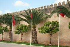 De muren van Meknes met vlaggen Royalty-vrije Stock Fotografie