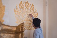 De muren van de tempel schilderen de aanwezigheid van nationale kunst en cultuur af stock fotografie