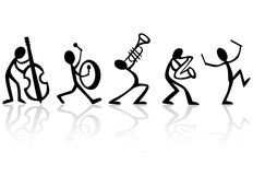 De Musici die van de band de VectorIllustratie van de Muziek spelen Stock Foto