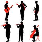 De musici die van de silhouettenstraat instrumenten spelen Vector illustratie stock illustratie