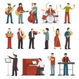 De musici kleuren Geplaatste Pictogrammen stock illustratie