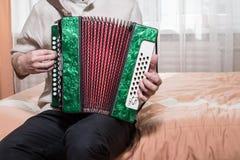 De musicus die de harmonika spelen stock fotografie