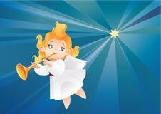 De musicus die van de jong geitjeengel op een nachthemel vliegen, die fanfare maken roepen royalty-vrije illustratie