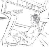 De musicus met gitaar berijdt de bus royalty-vrije illustratie