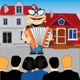 De musicus met harmonika komt vóór toeschouwer op straat te voorschijn royalty-vrije illustratie