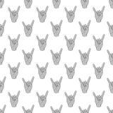 De musicus naadloos patroon van de gebaarrots royalty-vrije illustratie