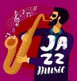 De musicus speelt de saxofoon Jazzmuziek, muzikaal festivalconcept Vector illustratie vector illustratie