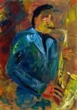De musicus speelt de saxofoon De saxofonist presteert bij het overleg royalty-vrije illustratie