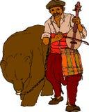 De musicus van de zwerver met beer royalty-vrije illustratie