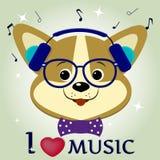 De musicus van hondcorgi, die aan muziek luisteren Hoofd in blauwe hoofdtelefoons, glazen en een vlinderdas in de stijl van beeld royalty-vrije illustratie