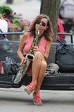 De Musicus van Zagreb/van de Straat/Saxofoonspeler royalty-vrije stock fotografie
