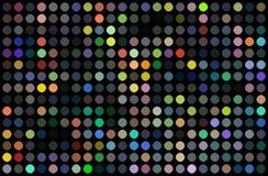 De muur abstract ontwerp van de discopartij Kleurrijk puntenmozaïek op zwarte achtergrond Heldere gele rode blauwgroene lichten royalty-vrije illustratie