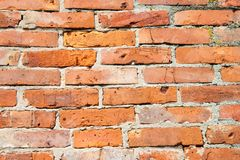 De muur bricked met rode bakstenen, kleine details Royalty-vrije Stock Afbeeldingen