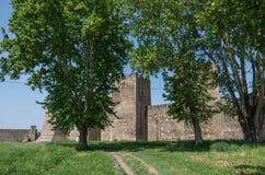 De muur en de torens van Smederevo-Vesting zijn middeleeuws versterkt c Stock Foto's