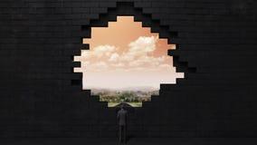 De muur stort in, creërend een gat Zakenman die zich op hoge manier bevinden Dawn hemel royalty-vrije illustratie