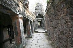 De muur van Angkor-Tempel, Kambodja Royalty-vrije Stock Fotografie