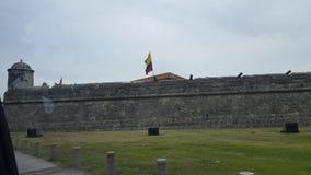 De muur van Cartagena stock foto's