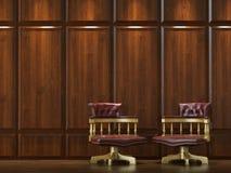 De muur van de bekleding met stoelen stock afbeelding